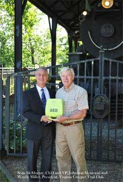 JMH donates defibrillator machines to Virginia's Creeper Trail